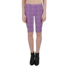 Purple Day Of The Dead Sugar Skull Cropped Leggings by CoolDesigns