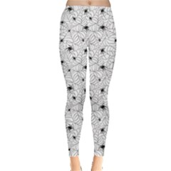 Gray Spiders On Webs Pattern Repeats Leggings