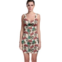 Colorful Skull Hearts And Flowers Bodycon Dress
