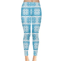 Light Blue Snowflakes Pattern Leggings  by CoolDesigns