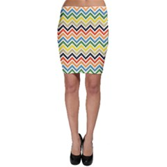 Colorful Hand Painted Style Chevron Pattern Bodycon Skirt by CoolDesigns