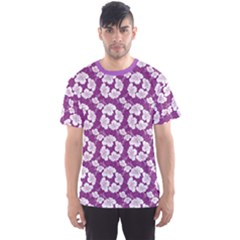 Purple With Hibiscus Flower Hawaiian Patterns Men s Sport Mesh Tee