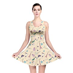 Colorful Paris Pattern Stylish Design Reversible Skater Dress by CoolDesigns
