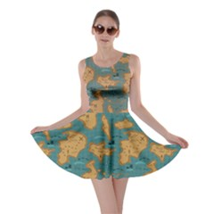 Green Adventure Map Pattern Stylish Design Skater Dress by CoolDesigns