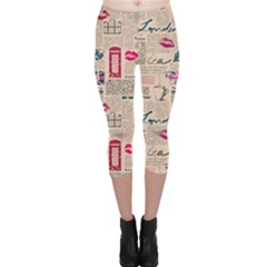 Colorful Pattern Newspaper London With Grunge Eleme Capri Leggings by CoolDesigns