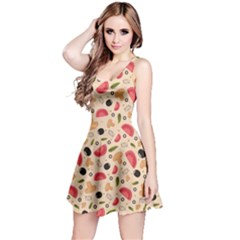 Colorful Pizza Pattern On Beige Stylish Design Short Sleeve Skater Dress by CoolDesigns