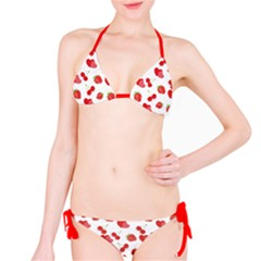 Red Pattern With Heart Cherry Strawberry Illustra Bikini Set by CoolDesigns