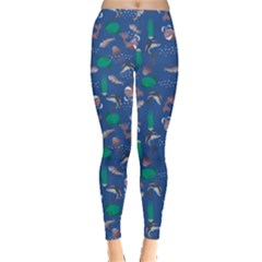 Blue With Sea Animals Stylish Designs Leggings by CoolDesigns