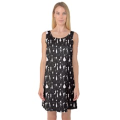 Black White Cats On Black Pattern For Your Design Sleeveless Satin Nightdress by CoolDesigns