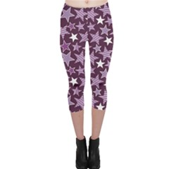 Purple Stars And Stripes Pattern Capri Leggings