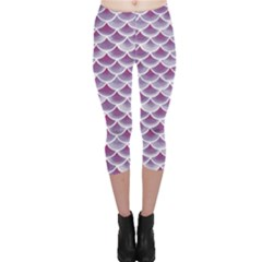Purple Watercolor Retro Fish Scales Texture Pattern Capri Leggings by CoolDesigns