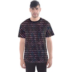 Black Pattern Blur Chevron Pattern On Black Men s Sport Mesh Tee by CoolDesigns