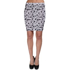 Black Pattern With Silhouette Ingredients Pizza Bodycon Skirt by CoolDesigns