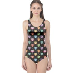 Black Pattern With Colorful Owls On Dark Women s One Piece Swimsuit