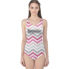 Pink Grunge Chevron Pattern Stylish Design Women s One Piece Swimsuit by CoolDesigns