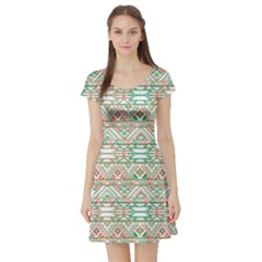Gray Abstract Geometric Aztec Colorful Pattern Short Sleeve Skater Dress