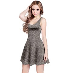 Black Grunge Pattern With Ice Cream Cons On Grey Sleeveless Skater Dress by CoolDesigns