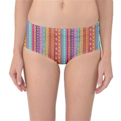 Brown Colorful Strip Abstract Stylish Design Mid Waist Bikini Bottom by CoolDesigns