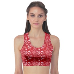 Red Paisley Pattern Design Women s Sport Bra by CoolDesigns