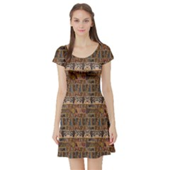 Brown Pattern In The African Style Short Sleeve Skater Dress by CoolDesigns