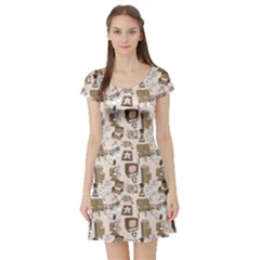 Brown Cinema Entertainment Decorative Pattern With Camera Short Sleeve Skater Dress
