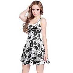 Black Yin And Yang Symbols Black And White Pattern Sleeveless Skater Dress by CoolDesigns