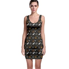 Black Halloween Horror Symbols Pattern Available Bodycon Dress by CoolDesigns