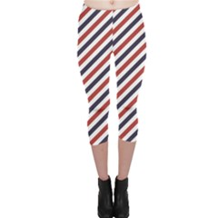 Red Barber Pole Pattern Barber Texture Capri Leggings by CoolDesigns