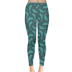 Green Mosaic Pattern With Dolphins Leggings by CoolDesigns