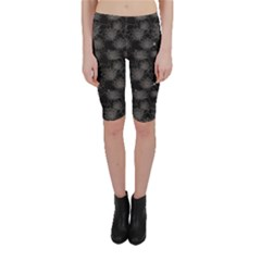 Black Web Spiders Pattern Cropped Leggings by CoolDesigns