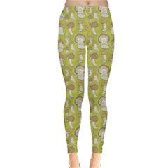 Green Pattern With Cep Mushroom Leggings by CoolDesigns