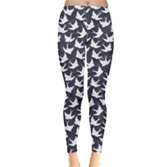 Blue Old School Pattern With Birds Leggings by CoolDesigns