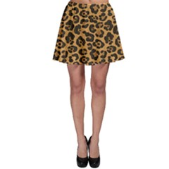 Brown A Yellow And Black Jaguar Spotted Repeatable Skater Skirt by CoolDesigns