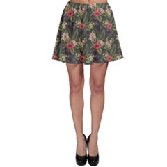 Colorful Tropical Floral Pattern Plumeria Hibiscus Flowers Skater Skirt by CoolDesigns