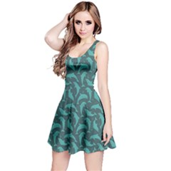 Green Mosaic Pattern With Dolphins Sleeveless Dress by CoolDesigns
