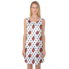 Red Ladybugs Black Polka Dots Pattern Sleeveless Satin Nightdress