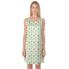 Green Green Cannabis Leaves Pattern Sleeveless Satin Nightdress by CoolDesigns