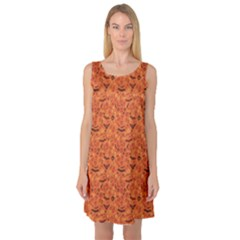 Orange Halloween Symbols Pattern Orange Sleeveless Satin Nightdress by CoolDesigns