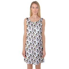 Black Pattern With Cartoon Penguins Sleeveless Satin Nightdress by CoolDesigns
