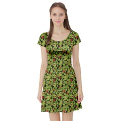 Green Cute Monsters In The Grass Pattern Short Sleeve Skater Dress