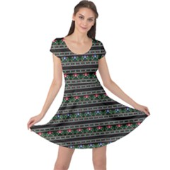 Dark Polish Folk Art Pattern With Flowers Wzory Lowickie Cap Sleeve Dress by CoolDesigns
