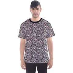 Dark Birds And Flowers Pattern Texture Men s Sport Mesh Tee by CoolDesigns