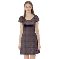 Black Spiderweb Pattern Short Sleeve Skater Dress by CoolDesigns