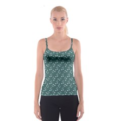 Green Music Elements Notes Gray Pattern Spathetti Strap Top by CoolDesigns