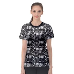 Black Love Heart Shape Pattern Women s Sport Mesh Tee by CoolDesigns