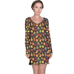 Colorful Pattern Set Of Fruit Long Sleeve Nightdress by CoolDesigns
