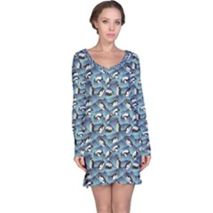 Blue Penguin Pattern Abstract Penguin Crystal Ice Long Sleeve Nightdress by CoolDesigns