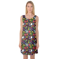 Colorful Flowers Skulls And Hearts Pattern Sleeveless Satin Nightdress