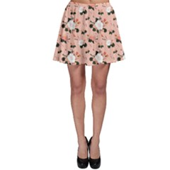 Nude Lovely Flower Pattern Over Pink Skater Skirt by CoolDesigns