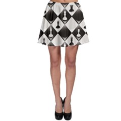 Black A Ly Repeatable Glossy Chessboard Chess Pieces Skater Skirt by CoolDesigns